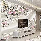 HGFHGD Selbstklebende Wandbild 3D Wallpaper Luxusschmuck Diamantblume Wohnzimmer TV Hintergrund Wanddekoration Wandaufkleber Wandkunst