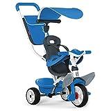 Smoby 741102 - Baby Balade blau - Mitwachsendes Kinderdreirad mit Schubstange, Sitz mit Sicherheitsgurt, Metallrahmen, Pedal-Freilauf, für Kinder ab 10 Monaten