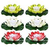 OSALADI 6 Stücke Teichlicht Lotus Licht 18cm Valentinstag Beleuchtung LED Schwimmende Blumen Lotusblume Künstliche Seerosen Lotusblüte Lotusblatt Teichbeleuchtung Pool Lampe für Teich Garten Deko