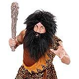 NET TOYS Neandertaler Perücke mit Bart Piratenperücke schwarz Steinzeit Perücke Pirat Barbar Wikinger Kostüm Zubehör