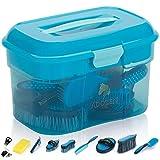 Adozen Pferde-Putzbox mit Inhalt   10-Teilig befüllt   Soft Touch Antirutschgriffe   Blau mit weißen Punkten
