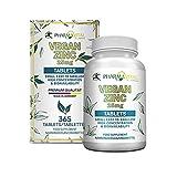 Pharmavital Vegan Zinc (365 Tabletten Jahresvorrat) - 25 mg Zink aus Bisglycinat Hochdosiert pro Tagesdosis - Nahrungsergänzungsmittel aus Deutschland