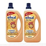 2x emsal Boden-Pflege Laminat 1 Liter mit Bioprotect - für Laminat, Linoleum & Viny
