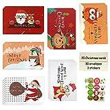 Weihnachtskarten mit Umschlägen und Aufkleber (30er Set), Klappkarten Grußkarten Blanko, Weihnachtspostkarten,Weihnachten Karten,Schöne Weihnachtspostkarten (A)
