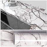 VEELIKE 40cm x 300cm Klebefolie Möbelfolie Marmor Folie Tapete Grau und Weiß Tapeten Wandtapete Selbstklebend Dekorfolie Schrank Folie für Wohnzimmer Küche Schlafzimmer