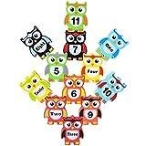 Atrumly 12 x digitale Holzbausteine mit Eulen-Motiv, bunt, Lernspielzeug, Geschenk für Jungen und Mädchen