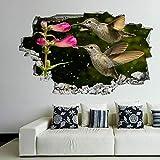 MXLYR Wandtattoo Kolibri-Blume-dekorative Wandkunst-Aufkleber-Wand-Aufkleb