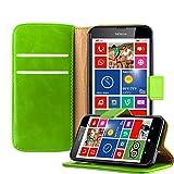 Cadorabo Hülle für Nokia Lumia 630 in Gras GRÜN – Handyhülle mit Magnetverschluss, Standfunktion und Kartenfach – Case Cover Schutzhülle Etui Tasche Book Klapp Style