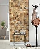 wodewa Wandverkleidung Holz 10x10cm 3D Optik Altholz sonnenverbrannt 1 Holzmosaikmatte Moderne Wanddekoration Holzverkleidung Wohnzimmer Küche