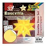folia 814/2020 - Bastelset Bascetta Stern, Transparent gelb, 20 x 20 cm, 32 Blatt, fertige Größe des Papiersterns ca. 30 cm, mit ausführlicher Anleitung - ideal zur zeitlosen Dekoration