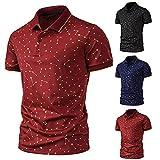 LUOBOTOU Langarm Poloshirt Herren Trachtenhemd Herren Sweatshirt Polohemd Sportsshirt Rot10,XXXL