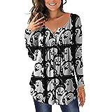 iHENGH Mode Damen Halloween Casual Lose Langarm Top Halloween Bluse(Weiß, L)