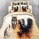 MIUNNG Mikrofaser Atmungsaktiv Hypoallergene Bettbezug,Tier Pferd,Indisch und Wolf,Drachen,Schädel Bettwäsche Set Geeignet für die Vier Jahreszeiten (Indianer & Wolf, 135 x 200cm)