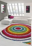 Merinos Teppich modern Wohnzimmer Teppich Regenbogen bunt Größe 120 cm R