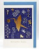 NEU - erhältlich auch in rot - CherriFriends® Glückwunschkarte gold veredelt Baby zur Geburt, Grußkarte Geburt Baby Junge,'Kranich', Karte Junge Geburt Baby mit Umschlag, Geschenk Babyshower