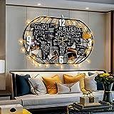YVX Weltuhren für die Wand, dekorative hängende Uhr 3D-Weltkarte Kunst Schwarze Uhr mit LED-Licht Handwerk, Metall große Wanduhr für Wohnzimmer, Schlafzimmer, Büro, Kaffee, 100 * 52cm