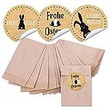 24 kleine braune MINI Papiertüten Ostertüten 6,3 x 9,3 cm + 24 runde Osteraufkleber 4 cm schwarz beige braun weiß Kraftpapier Frohe Ostern Osterhase Geschenk Verpackung give-away Mitgebsel