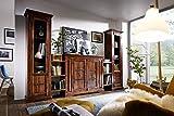 MASSIVMOEBEL24.DE Wohnwand Oxford aus Akazienholz, Möbelset aus Vitrine, Kommode, Hochschrank und Regaleinheiten im Kolonialstil