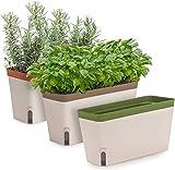 WYJRF 3 Stück selbstbewässernde Blumenpflanzentöpfe, rechteckige Fensterbank-Pflanzkiste, große dekorative Indoor-Gartentöpfe für Zimmerpflanzen, Kräuter, Gemüse, Sukkulenten, Grü