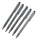 Davii - 5 Stück universal Touch Pen Eingabestift für Handy und Tablet, Stylus aus hochwertigem und stabilem Aluminium mit Glitzer Streifen - Bunt