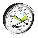 TFA Dostmann Thermo Analoges Thermometer Hygrometer mit Metallring, Luftfeuchtigkeitsmessgerät, Mehrfarbig, L 71 x B 23 x H 71 mm