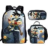 Wanyint Cool Goku Schulranzen Rucksack, Federmappe, Lunchbox Federmäppchen Back to School Bags für Jungen Mädchen