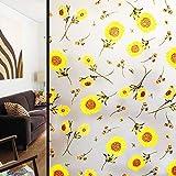LMKJ Gelbe Sonnenblumenmuster elektrostatisch Milchglasaufkleber, undurchsichtige Badezimmer elektrostatisch Milchglasfolie A54 60x200cm