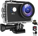 MVOWIZON Go 2 Action Cam 4K 20MP Unterwasserkamera 40M Wasserdicht Kamera Actionkamera WiFi Helmkamera mit 2.4G Fernbedienung 170 ° Weitwinkel mit 2x1050mAh Akkus Externem Mikrofon Zubehö