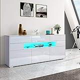 Senvoziii LED Sideboard Kommode, Highboard Schublade mit LED Beleuchtung Vitrine Wohnzimmer Hochglanz 3 Türen 5 Schubladen Küche Buffetschrank - Weiß