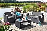 Koll Living Lounge Set Korsika in anthrazit, inkl. Sitzauflagen & Rückenkissen, langlebiger & wetterfester Kunststoff in Rattanoptik, 2 Sessel + 1 Sofa + T
