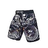 LGQ Muay Thai Fight Shorts Boxhose Kampfsport MMA Kleidung,Schwarz,L