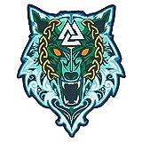 Wikinger Wolf von Odin großer bestickter Rückenaufnäher für Motorradjacke & Bikerweste (Ice Wolf)