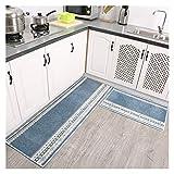 JJYGXYG Fußmatte im nordischen Stil, geometrisches Muster, rutschfest, modern, minimalistisch, Küchenmatten (Farbe: Blau, Größe: 50 x 65 cm)