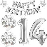 Youngneer Luftballon 14. Geburtstag Deko Silber Set für Mädchen Junge 14 Jahr Deko 14 Geburtstags Dekoration Riesen Zahl 14 Folienballon mit Happy Birthday Banner zum Mädchen Geburtstag 14 Jahre