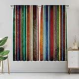 Alandana Streifen-Vorhänge, vertikal gefüttert, bunte Retro-Bänder mit Schaden-Effekten, altmodisch, verwittertes Display, wärmeisoliert, 2 Paneele, jedes Paneel 91,4 cm B x 182,9 cm L mehrfarbig