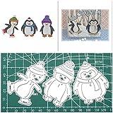 3Pcs Pinguin Stanzschablonen, U-horizon Penguin Cutting Dies Schablone Schneidebrett aus Metall für Scrapbooking, Fotoalbum, Karte, Papier Dekoration, Geschenk (Pinguin)