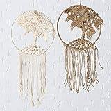 Boltze Traumfänger Emiliana Baumwolle beige braun Höhe 65 cm, Fensterdeko, Geschenk, Wanddeko