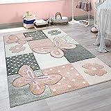 Paco Home Kinder Teppich Kinderzimmer Bunt Rosa Schmetterlinge Karo Muster Punkte Blumen, Grösse:120x170