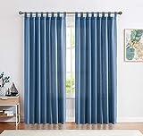 CKNY Gardinen Schlaufenschal Voile Fenster Vorhang Mit Schlaufen Halb Transparent Schlafzimmer Wohnzimmer Dunkelblau 245 x 140 cm(H x B) 2er-Set