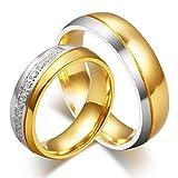 ROMQUEEN Schmuck Partnerringe Aus Gold Verlobungsringe Zweifarbig Herrenring Edelstahl Gold Eheringe Gold Und Silber Damengr.60 (19.1)&Herrengr.60 (19.1)
