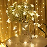 Weihnachtslichter, Girlanden, Weihnachtsdekorationen, LED-Lichterketten, Gartenschneeflocken, Märchenlichter Batterie 6m60 LED