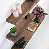 Rikmani Wandregal Holz Eiche massiv dunkel - Handgefertigtes Regal mit Baumkante Bücherregal Holzregal Wandboard 40 cm x 15 cm x 4 cm