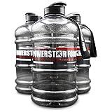 POWERSTAR FOOD XXL Water Bottle   2,2 Liter   SCHWARZ   Mit Tragegriff, Trageschlaufe & Zusatzöffnung im Verschluss   Für Gym, Fitness & Training   BPA frei