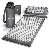 High Pulse Akupressur Set + 5 Ringe + Poster – Akupressurmatte & Kissen stimuliert die Blutzirkulation und löst Verspannungen (Grau)