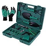 eROOSI 11-teiliges Gartengeräte-Set, Garten-Handwerkzeuge-Set, Pflanzset, Gartenarbeitsgerät, Handschuhe mit Krallen Gartengeräte mit Tragetasche, Geschenke für Gartenliebhaber. (Grün)