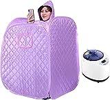 HUYEERDF Dampf Sauna Tragbare Topf, Sauna Kabine Sauna Bad Box Abnehmen Körpergesicht, 2L Spa Dampfer Sauna Zelt für Zuhause, Fernbedienung 9 Einstellbare Temperaturniveaus, Lila (Color : Purple)