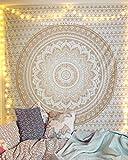 raajsee Indisch Psychedelic Wandteppich Mandala Glänzend Gold weiß, Elefant Boho Wandtuch Hippie Twin 140x210 cm,Golden Boho Decke Wandbehang,/Beach Tapestry Yoga Meditation Mat