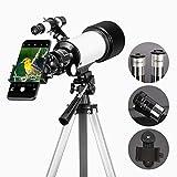 Gosky 70mm Refraktor Teleskop mit Okular, 3X Barlow Objektiv und Smartphone Mount