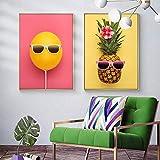 Nordic Style Abstrakte Ananas Ballon Leinwand Malerei Obst Poster Drucke Wandkunst Bild Küche Kinderzimmer Dekor 60x90cmx2 Rahmenlos