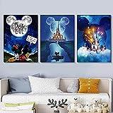 Abstrakte Cartoon-Disney-Schloss-Leinwanddruck, Aquarell, Heimdekoration, Poster, Gemälde, Cartoon-Bild, Wohnzimmer-Kunst, Wanddekoration, 40 x 60 cm / 3 / kein Rahmen